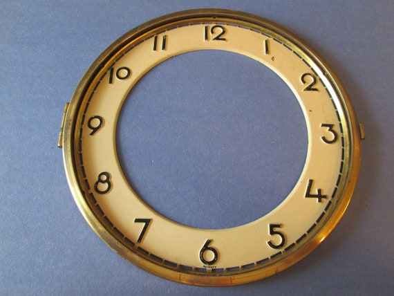 "1 7"" Old German Painted Solid Brass Clock Dial With Bezel for your Clock Projects, Steampunk Art..."