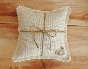 "8"" x 8""  Off-White Burlap Ring Bearer Pillow w/ Jute Twine and Burlap Heart -Personalize With Initials- Rustic/Country/Shabby Chic/Wedding"
