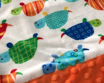 Travel Pillowcase - Multi Color Turtle Print Minky with Orange Dimple Dot Minky Border - great for a Toddler or Travel Pillow