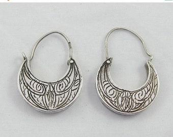 15% OFF Italian Silver Sterling Ornate Two Sided Hoops Dangle