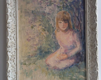 """Retro Painting Original Mid Century Modern Abstract Oil Painting , 1967  """"Girl Under Lilacs """" Signed Helen Reed"""