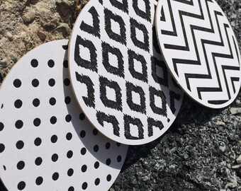 Assorted BLACK & WHITE PATTERN - Letterpress Coasters (Set of 6)