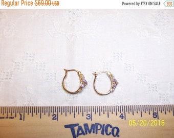 SUMMER SALE 20% OFF, Vintage Diamond accents hoop earrings. Vermeil.