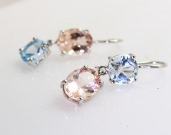 Aquamarine/morganite earrings