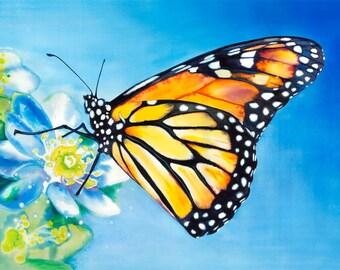 Monarch Butterfly Watercolor Fine Art Print on Paper, Metal, or Canvas [Monarch Butterfly Print Monarch Butterfly Painting Butterfly Art]
