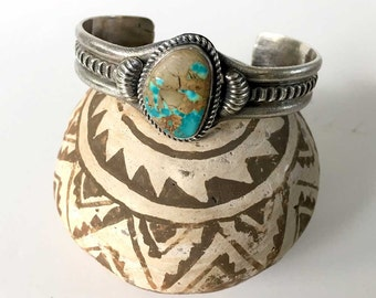 Vintage Navajo Native American Turquoise Sterling Silver Womens Cuff Bracelet | Signed KS | Southwest Santa Fe Style | Handmade Genuine