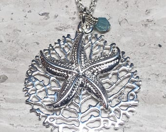 "24"" long sterling silver starfish and coral necklace with Swarovski Crystal drop"