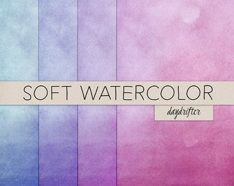 Pink Magenta Purple Indigo Soft Ombre Watercolor Paper Backgrounds - Digital Scrapbooking - Instant Download CUOK
