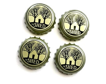 Craft Beer Magnet Set, The Shed Beer Cap Magnets, Beer Bottle Top Magnets, Set of Four, File Cabinet Magnet, Refridgerator Magnets