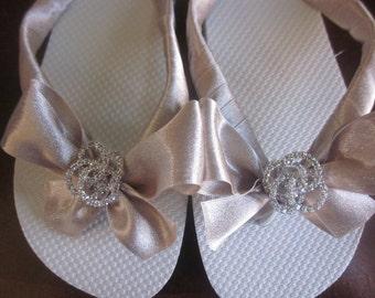 Bridal Flip Flops/Wedges.Wedding Flip Flops. Bride Shoes. Bridesmaid Sandals. Wedding Shoes. Reception Flip Flops.Mother of Bride Shoes