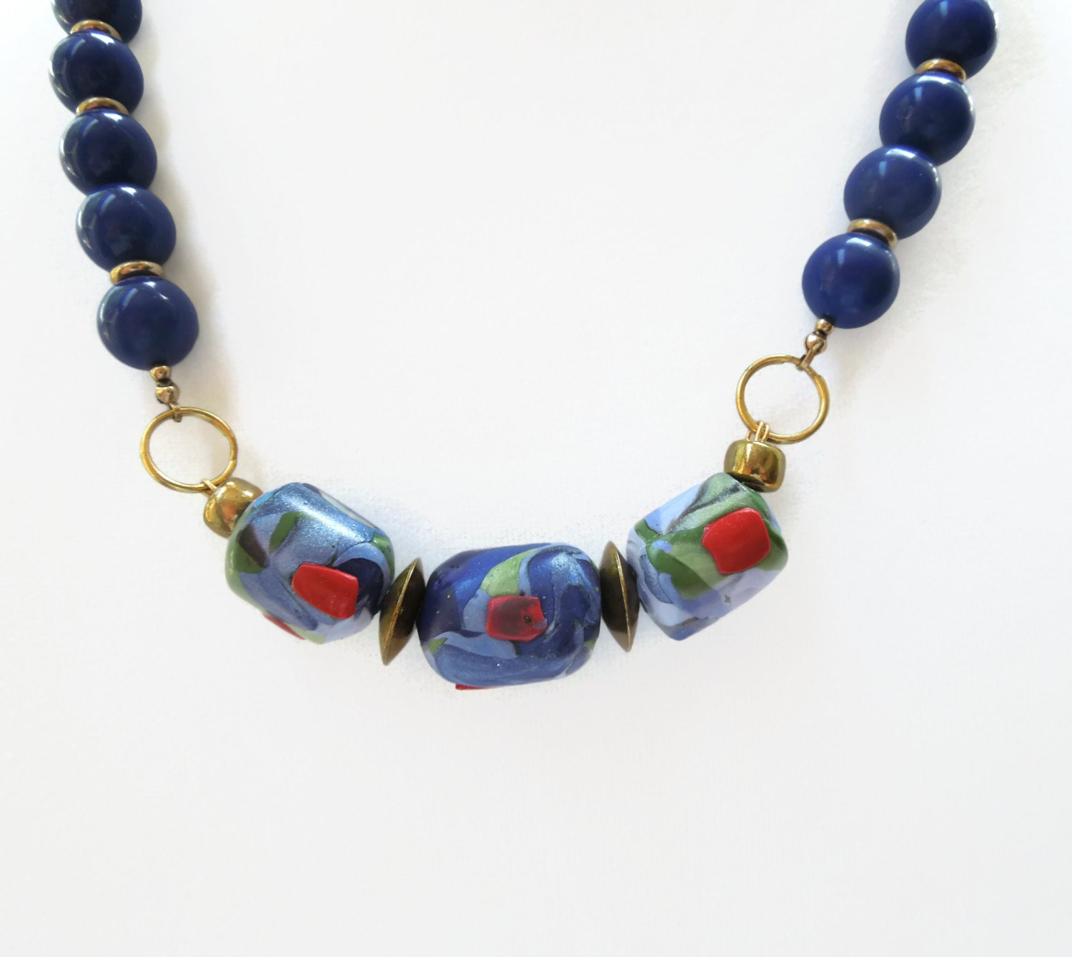 beads bead made necklace coral product jane ceramic blue artist by of and