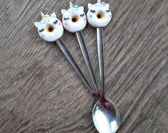 Decorative sweet tea spoon with unicorn from polymer clay, handmade spoon, polymer clay spoon, kitchen acsessories, gift idea.