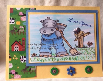 2065 Farmer Hippo Digi Stamp