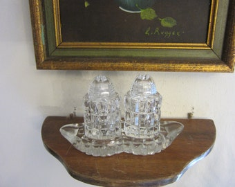 Vintage Cut Glass Salt & Pepper Shakers with Serving Tray,