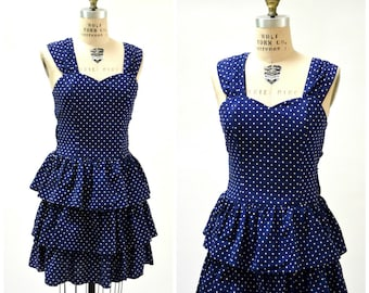 80s does 50s Vintage Party Dress Blue and White Polka Dots Medium Large// 80s Navy Blue White Polka Dot Prairie Dress Ruffles Cotton Dress