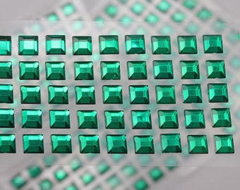 6mm 8mm Green Emerald Stick On Square Rhinestones Gems For DIY Cards and Invitations  - 50 Pieces
