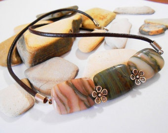 Pink and Green Jasper Jewelry Set Brown Leather Necklace Silver Flowers Leather Jewelry Stone Jewelry One of a Kind Gifts PRIORITY MAIL