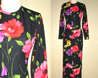 Vintage 1970's dress SAKS FIFTH AVENUE fitted floral maxi - S