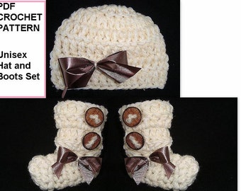 CHILDREN'S clothing - BABY Hat and BOOTS set - Pdf Instant Download Crochet Pattern - Newborn to 12 months - boys or girls, kids - #677