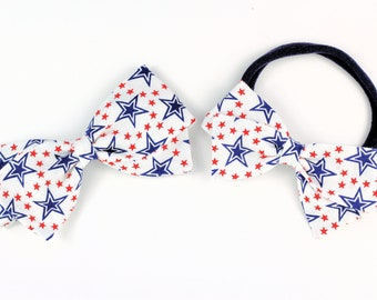 4th of July Bows - Blue and Red Star hair bow - Nylon headband, clip, or barrette - SALE