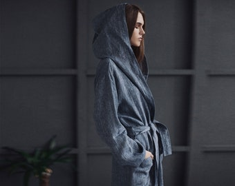 Softened natural linen bathrobe with a hood blue jeans color, elegant loungewear robe for women, natural, sustainable fashion robe, woman