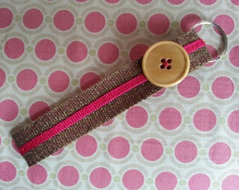 Key strap, gold and pink