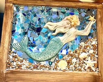 "Large  approx 24""x18"" Beach Glass, Mermaid, and Starfish in Barnwood Frame, Beach Glass Wave"