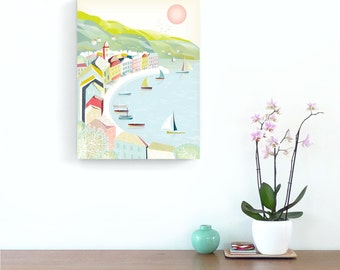 French wall art, Cote D'Azur Riviera Travel Poster, French Print Beach Travel Vacation Wall Art, Beach, Harbour, St Tropez, Valentines gift