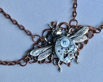 Bee Necklace | Steampunk Necklace Choker | Watch Movement Necklace | Insect Choker | Bug Necklace | Gear Necklace | Anniversary Gift For Her