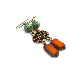Turquoise & Orange Bohemian Earrings - Picasso Czech Glass - Metal Bronze Filigree - Long Boho Dangles