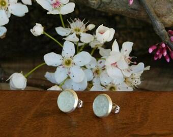 Aqua Marine raw crystal earrings