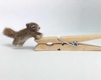 Tiny needle felted squirrel, miniature soft sculpture, by Little Bea Studio
