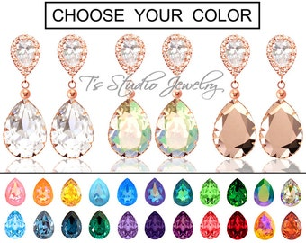 """CHOOSE YOUR COLOR Pear Shaped Crystal Bridesmaid Earrings - """"Maggie"""" - Rose Gold"""