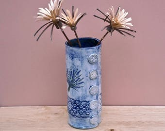 Lavender ceramic vase - Botanical blue vase -  Stoneware tall vase with purple flowers - Rustic home decor - Country cottage chic with lace