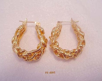 Vintage Gold Filled Nugget Earrings (4-4098) Free Ship