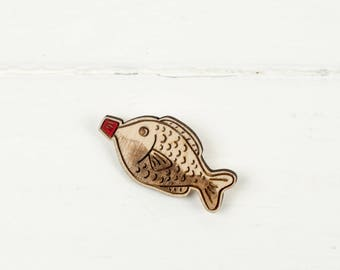 Soy Sauce Fish Brooch, Japanese Food, Laser Cut Plywood Pin