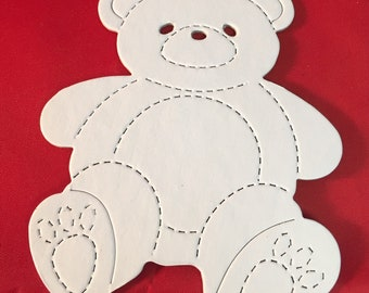 Teddy Bear Die Cuts * Great for Baby Showers and Birthday Parties * Cute * Choose 8 Chipboard or 12 Cardstock * White or Kraft Cardstock *