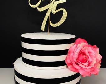 75th cake topper Etsy