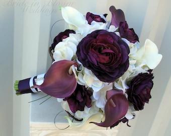 Wedding bouquet, Purple bouquet, Brides bouquet, Calla lily Ranunculus real touch bouquet, Wedding flowers