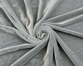 Princess LIGHT GREY Polyester Stretch Velvet Fabric by the Yard, Half Yard, Sample - 10001