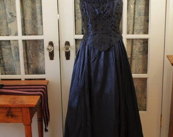 Royal Blue Early 1950's Evening Gown