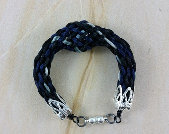 Bracelet: woven braided satin cord and glass ball; black, grey, blue; gift for him, gift for her