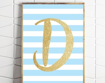 monogram printable art, nursery letter art print, girls room decor, initial custom wall decor, shabby chic art, baby shower art