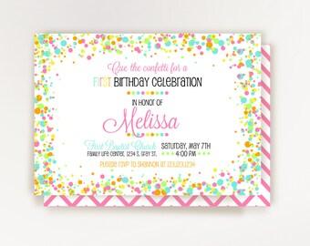 Confetti Birthday Invitation - Confetti Party - Printable Invitation