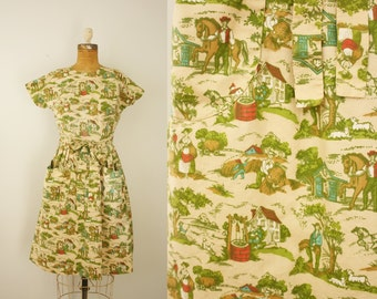 1950s Swirl dress | vintage 50s novelty print wrap dress