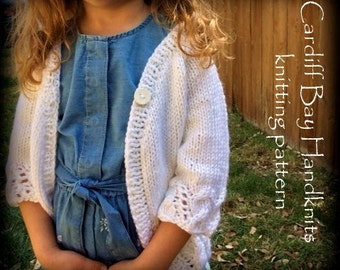 Knitting Pattern,girls knit cardigan,white,cables,jumper pattern,top down,girls sweater pattern,white cardigan,flower girl cover up,Arabella