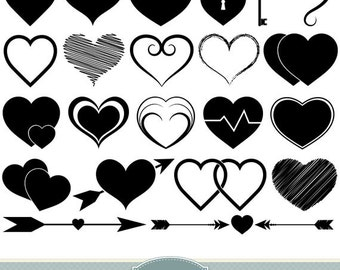 Hearts Clipart Vector Hearts Clip Art Heart Silhouette Clipart Scrapbooking Heart Icons Invitations Logo Design Wedding Icons Valentines