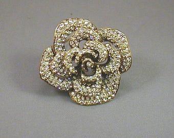 Vintage Pave Crystal Rhinestone Rose Flower Brooch