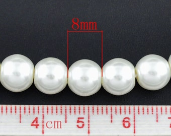8mm White Glass Pearl Imitation Round Beads - 32 inch strand - Approx. 105 beads per strand