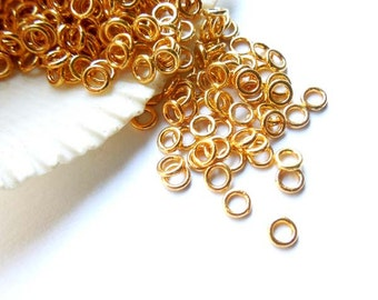 50/100 Gold Plated Jump Rings 4mm, Closed Loop - 8-7